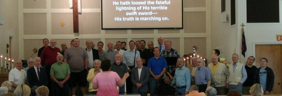 Puckety's Men sing to the Ladies of the church on Mother's Day
