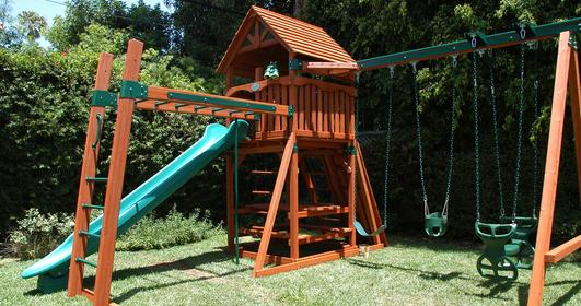 Backyard Adventures outdoor wooden play set.