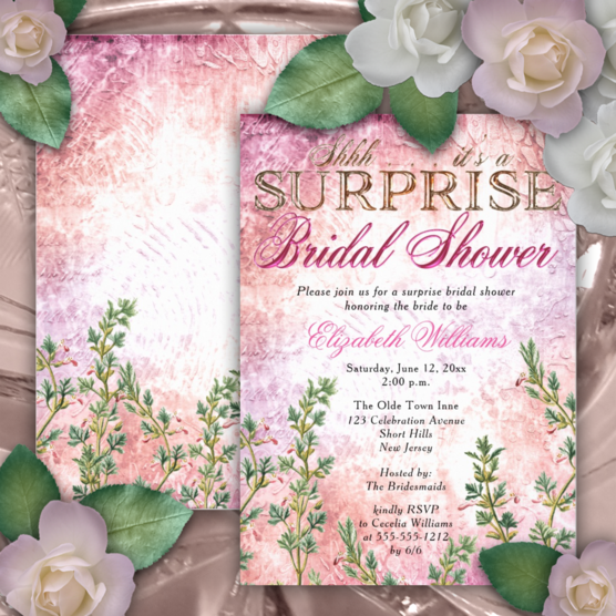 pink distressed watercolor background vintage pink floral surprise bridal shower two-sided invitations
