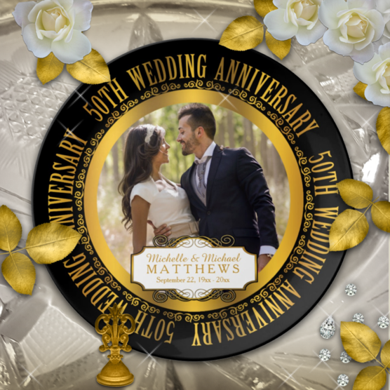 Gold tone and black 50th wedding anniversary custom designed photo porcelain keepsake plate which can be personalized with your names and wedding and anniversary date
