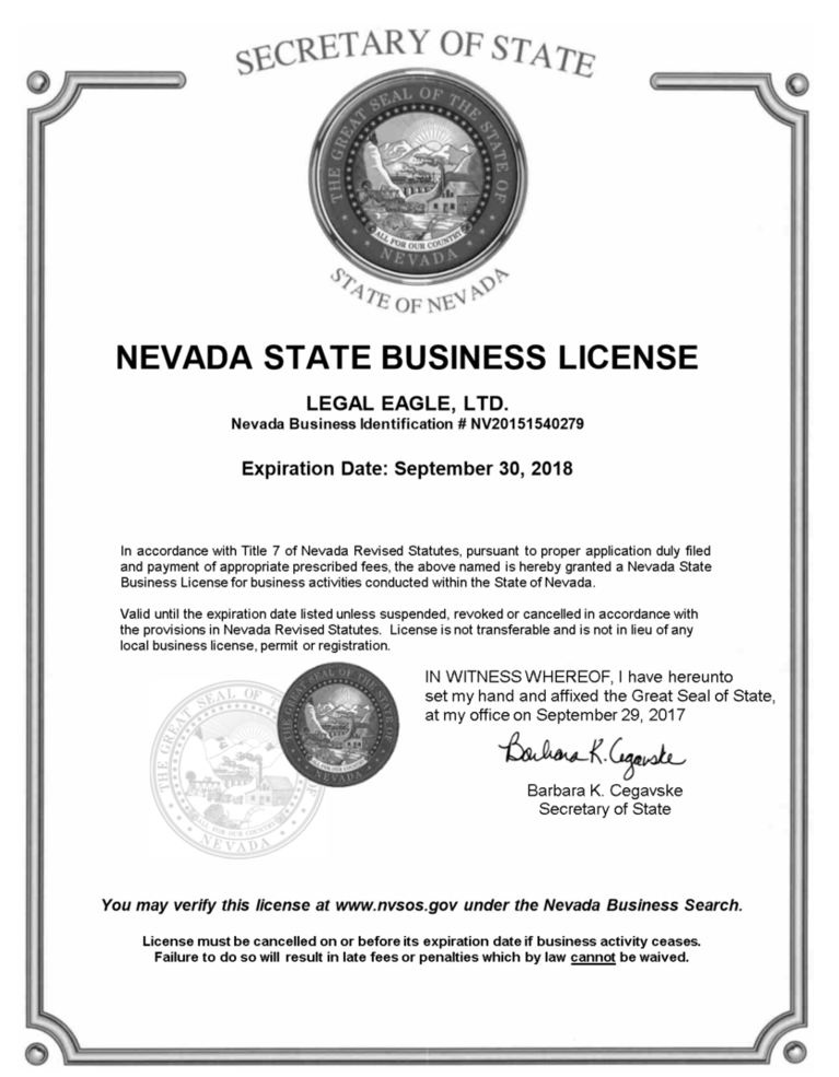 Nevada Business License - Legal document preparation business