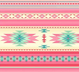 Pink Native American Blanket Stripe. Baby Nursery Fabric
