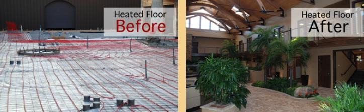 Radiant install, before & after, Indiana Warm Floors