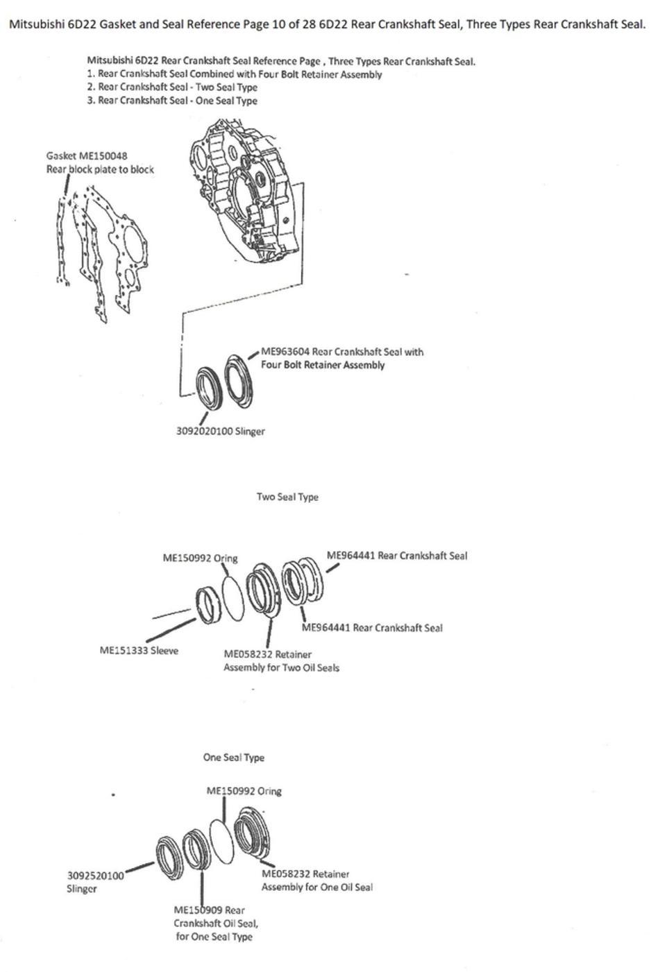 Mitsubishi 6D22 Gasket and Seal Reference Page 10 of 28 6D22 Rear  Crankshaft Seal, Three Types Rear Crankshaft Seal.
