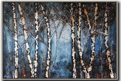THE WOOD SILVER WITH ANIMALS Landscape Acrylic Art Painting