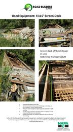 Used 4' x 15' Screen Deck for Asphalt Plants