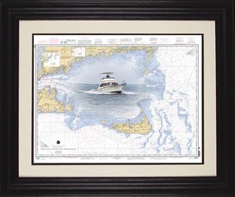 Framed nautical charts maps