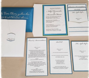 wedding invitation suite, pocket invitation, invitation with inserts, embossed invitation, calligraphy on envelopes, calligraphy on wedding envelopes, Inkchanted, Inkchanted Paper & Designs
