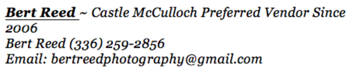 Bert Reed Photography ~ Preferred Vendor Castle McCulloch