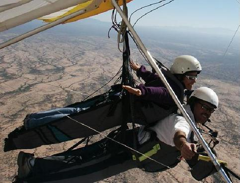 Tandem hang gliding flight over Coolidge Arizona