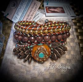 Leather Wrap Bracelets, ECG Designs, Buddha, Artisan