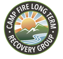 circle logo with mountains, river and rising sun with white text camp fire long term recovery group