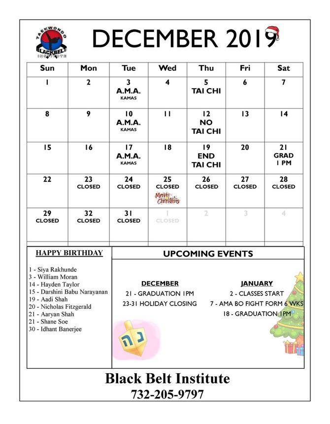 BLACK BELT INSTITUTE MARTIAL ARTS AND KARATE EVENTS CALENDER METUCHEN EDISON
