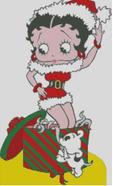 Cross Stitch Chart of Betty Boop at Christmas