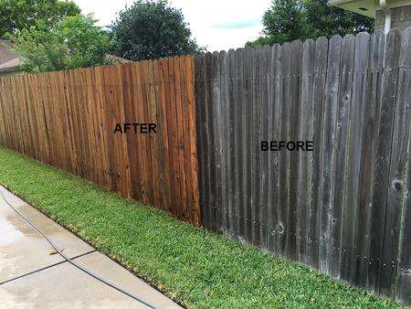 pressure washing fence in Houston Texas