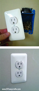 DIY easy Electric Outlet Hidden Compartment Wall Safe. Hide valuables in plain sight. www.DIYeasycrafts.com