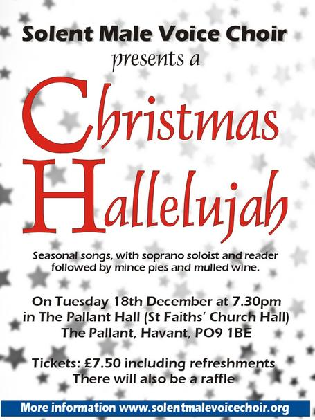 Christmas Hallelujah poster for the Solent Male Voice Choir, Portsmouth