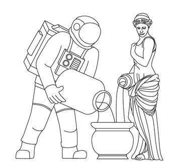 background image of astronaut and water bearer