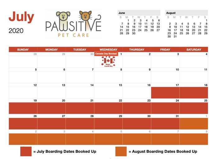 July Boarding Availability: Click to Enlarge