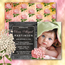 Vintage pink hydrangea landscape rustic country faux wood with photo baby girl birth announcement