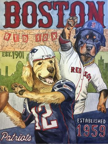 Pet Portrait Patriots Red Sox Fan watercolor