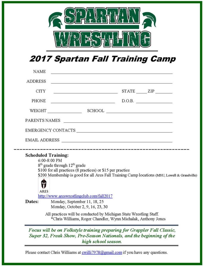 Spartan Wrestling Fall Training Camp