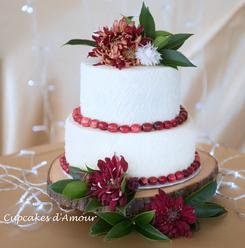 Wedding Cake Red flowers cranberry raleigh