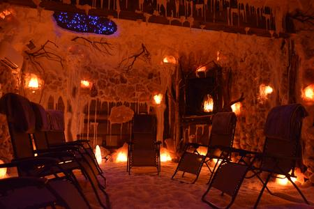 AURA salt cave with chairs in Amherst, NY