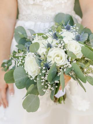 White, sage green and dusty blue wedding bouquet.
