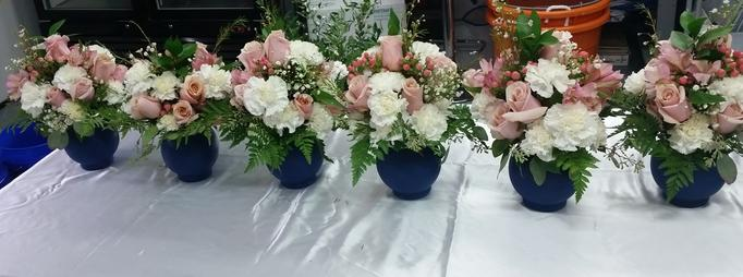 Pink White Navy Wedding Party Centerpiece