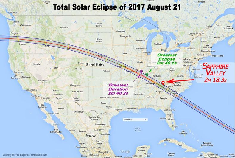 2017 total solar eclipse North Carolina, sapphire valley North Carolina 2017 total eclipse information