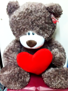 giant valentine's day teddy bear with heart | The little flower shop florist and gift shop