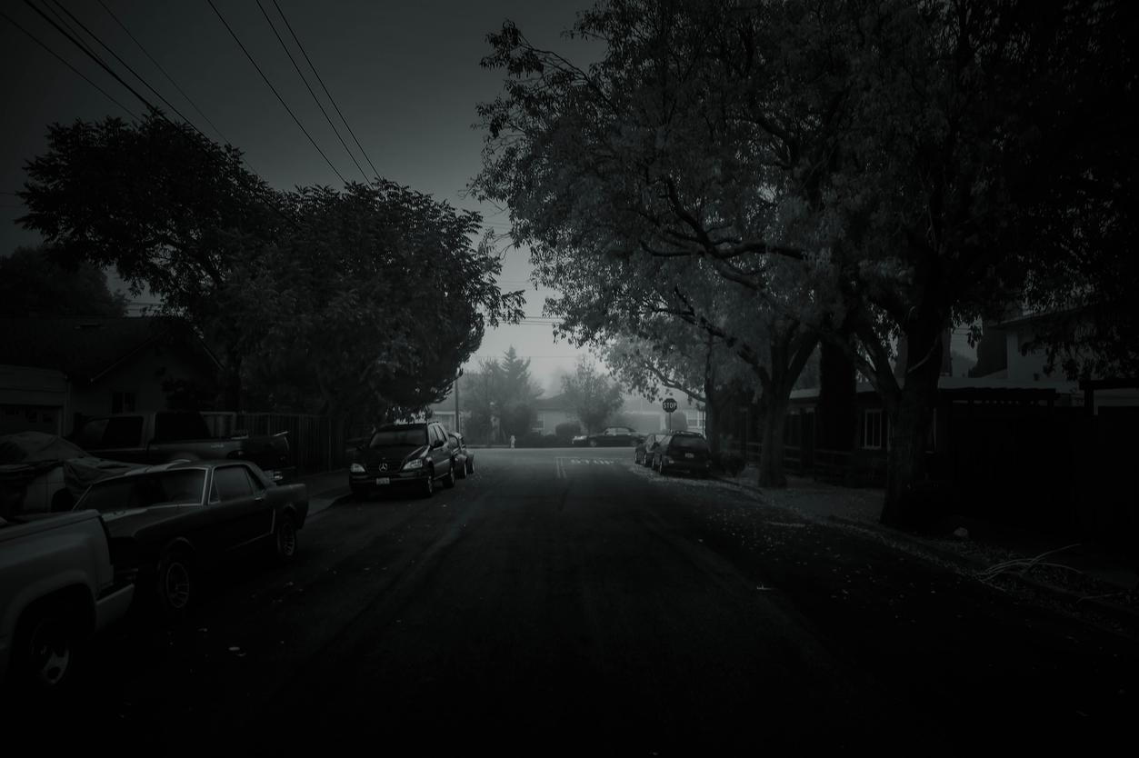street morning sunrise black and white