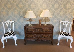 antique chest of drawers 2 custom zebra print chairs, and 2 relic table lamps from Italy