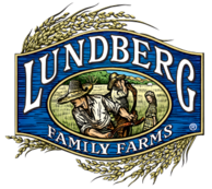 Lundberg Family Farms logo. Two people working a rice field.