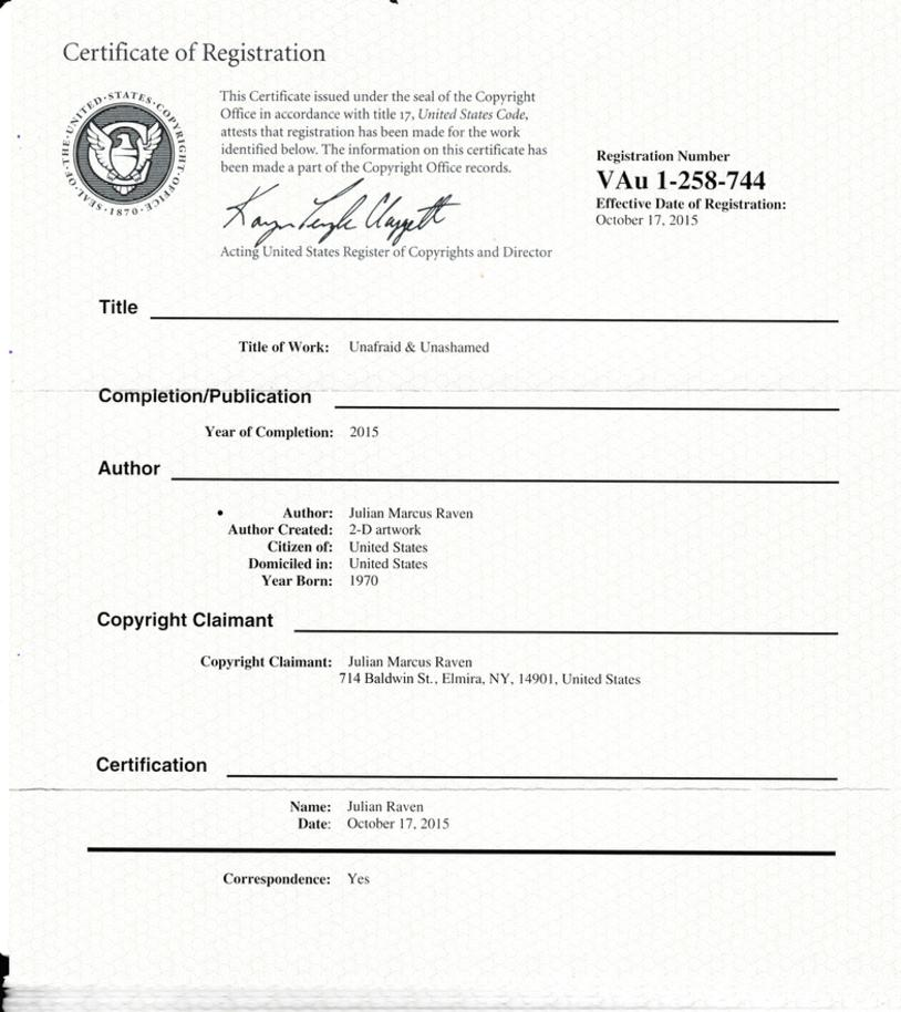 Certificate Of Title And Copyright The Trump Painting And The Trump