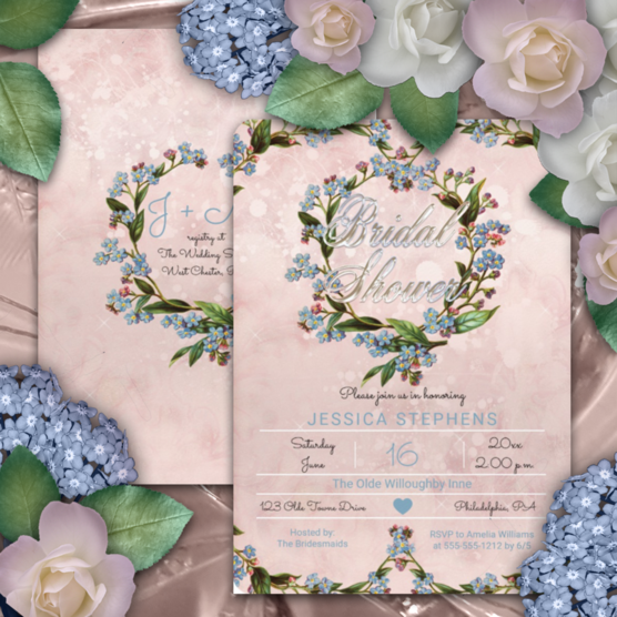 Blush pink distressed watercolor forget-me-not vintage floral wreath bridal shower two-sided invitations