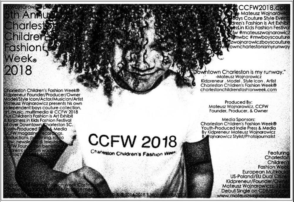 Mateusz Wojnarowicz, 12 lat, Polish Multiracial US-Poland Dual Citizen Founder, Owner, Producer & Director of Charleston Children's Fashion Week Launches CCFW 2018 on January 1st 2018.