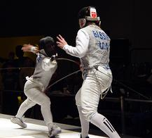 Coach Patricia Szelle Cannon fencing at Arnold Classic - Cincinnati Ohio