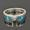 Turquoise wedding ring with white sapphires in sterling silver.