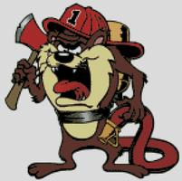 Cross Stitch Chart of the Taxmanian Devil, Taz