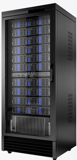 Internet web server array in a rack.