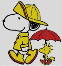 Cross Stitch Cahrt of Snoopy and Woodstock walking in the Rain