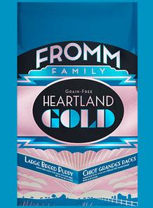 FROMM Heartland Gold Large Breed Puppy Dry dog food available in 26, 12 and 4 pound bags