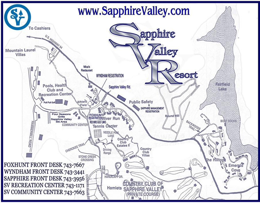 Maps about Sapphire Valley Resort, High South Adventures