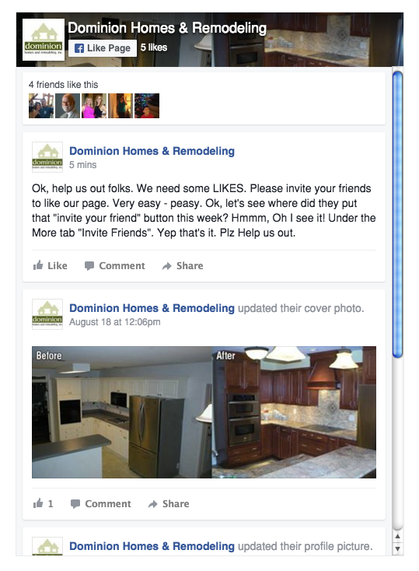 Dominion Home & Remodeling Facebook Page