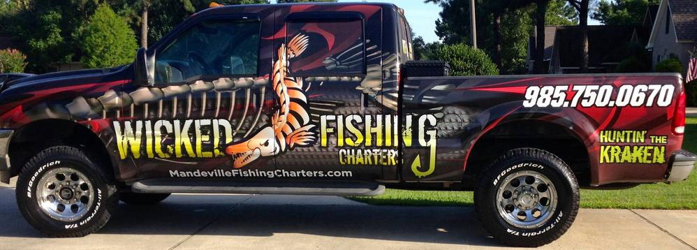 Click the truck to see Wicked Fishing's website