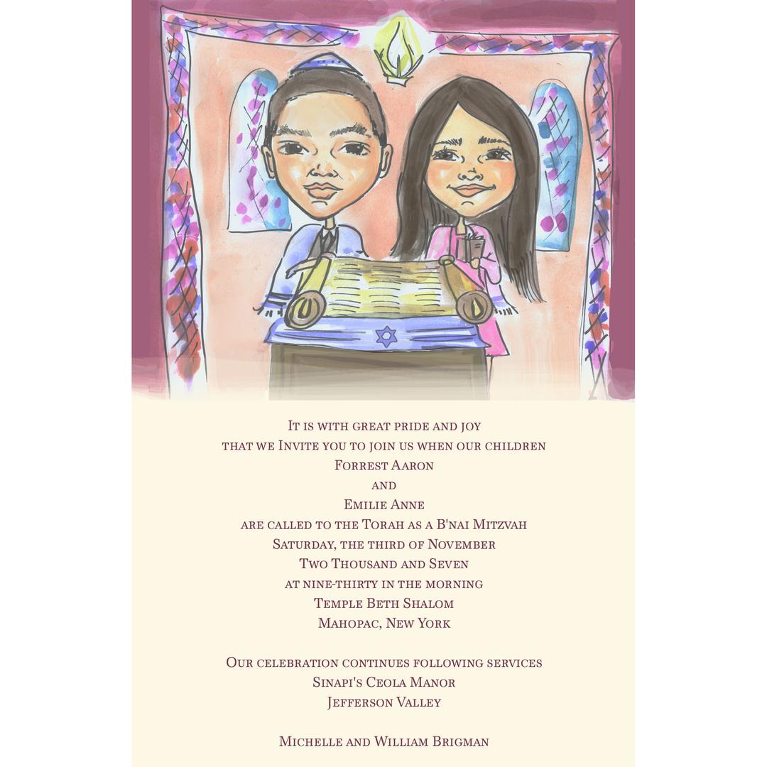 Unique Custom Caricature Bar Mitzvah Party Invitations | Custom ...