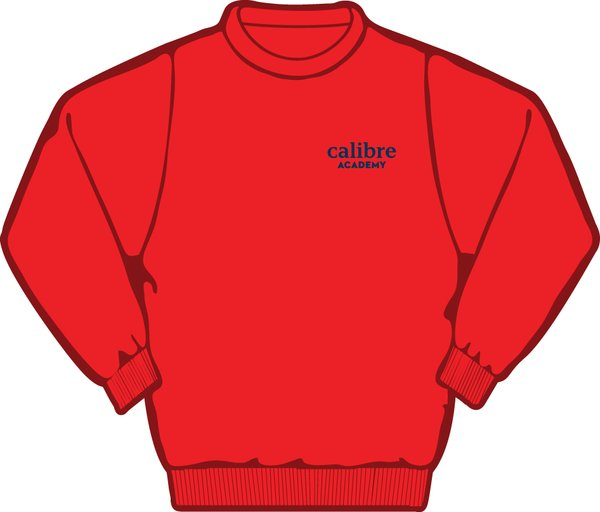 Adult red crew neck sweatshirt calibre academy polo shirts for Crew neck sweater with collared shirt