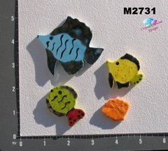3 Assorted Fish and a shell Handmade Mosaic Tiles M2731